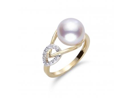 *Featured in INSTORE*It is no surprise that our jewelers and their customers are loving this best selling design suite as it is made with such high quality components in a modern elegant design aesthetic. This ring features a 9-9.5mm lusterous Japanese Akoya pearl set in 14k yellow gold and surrounded by shimmering diamonds.