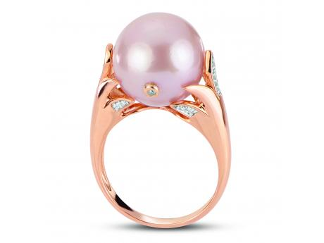 14K Rose Gold Freshwater Pearl Ring - Windsor cultured pearl 14K Rose Gold RingIt is not often that a piece of jewelry takes our breath away but this brand new design from our Windsor collection has left us speechless! The way that the soft blush color of the 14K rose gold compliments the natural pink color of this large 13-14mm cultured pearl is truly a match made in heaven!SPECS: 20 diamonds for a total carat weight of .056 including one diamond actually drilled and bezel set into the surface of the cultured pearl, 13-14mm natural colored bead nucleated freshwater Windsor cultured pearl, solid 14K rose colored gold.