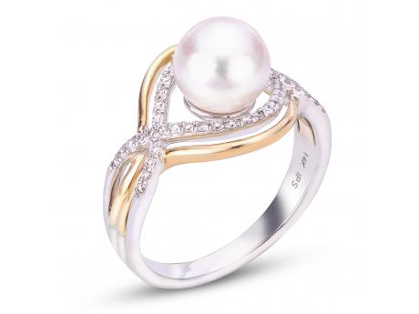 Imperial Gold Ring - 14K TWO-TONE 8-8.5MM AKOYA PEARL AND DIAMOND RING