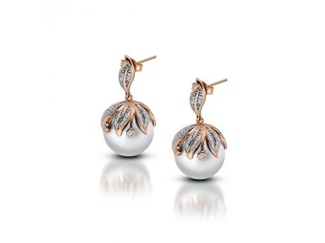 14K Rose Gold Freshwater Pearl Earrings - These 14K rose gold and diamond earrings feature two stunning hand sleected 13-14mm Windsor cultured pearls.For decades freshwater cultured pearl farmers have been trying to develop new culturing techniques in order to produce larger and rounder cultured pearls than ever before... We are proud to announce that our farmers have cracked the code producing affordable top quality cultured pearls from 13-15mm! Seeing is believing.