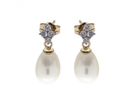 14K Yellow Gold Freshwater Pearl Earrings - 14K 8-9MM FWP & DIAMOND EARS .27 CTTW
