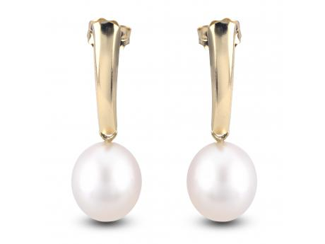 14K Yellow Gold Freshwater Pearl Earrings - 14KY 8-9MM FWP DROP SHIELD ER