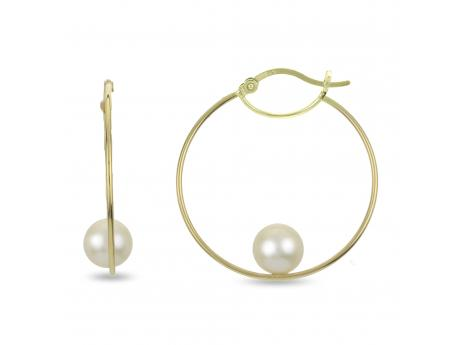 14K Yellow Gold Freshwater Pearl Earrings - 14KY 8-8.5MM FWC PEARL 30X1MM HOOP EARRING