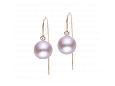 14K Gold Rose Freshwater Pearl Earring - 14KR 10-11MM NAT PINK WINDSOR DIA (.07 CTW) HOOK EARRING