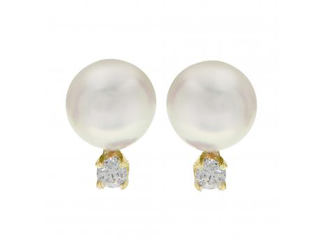 14K Yellow Gold Akoya Pearl Earrings by Imperial Pearls