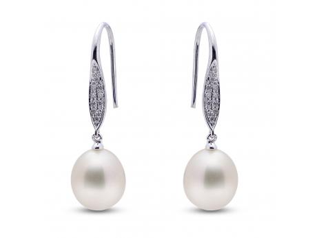 14K White Gold Freshwater Pearl Earrings - These classic shepherds hook earrings are fashioned in solid 14k gold and feature 22 pave set round, white, sparkling diamonds. Two 9-9.5mm lustrous freshwater cultured pearls finish off the design for an overall timeless appeal.
