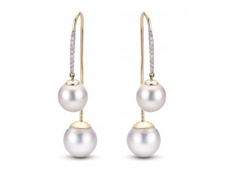 14K Yellow Gold Freshwater Pearl Earrings - 14KY 8-8.5 & 9.5-10MM