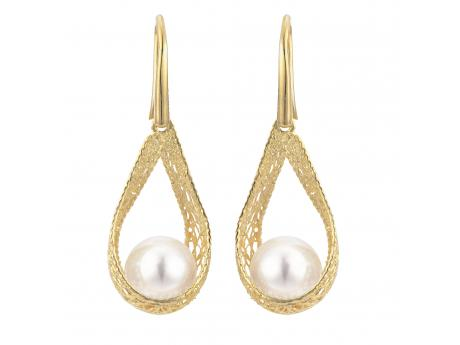 14K Yellow Gold Freshwater Pearl Earrings - Crafted in 14K yellow gold these gorgeous earrings feature AAA  quality 9-9.5mm freshwater cultured pearls. Silk by Imperial is a collaboration between Imperial cultured pearl and Italy's master gold smiths. After discovering a group of incredibly talented gold smiths from Italy's famous Arezzo region of Tuscany we immediately knew that a partnership was the next step. Our new Italian design partners have been hard at work designing these wearable works of art that we recently launched to our jewelers during IJO in Baltimore, and to our delight Silk has quickly become a new Imperial best seller!