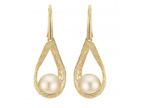 14K Yellow Gold Golden South Sea Pearl Earrings - 14K 9-10MM 9-10MM GOLDEN SOUTH SEA FILIGREE EARRINGS - SILK LINE