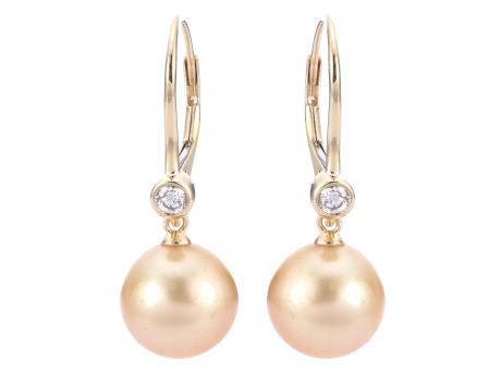 14K Yellow Gold Golden South Sea Pearl Earrings - 14KY 10-11MM GSS PEARL & DIA(.20 CTW) LEVERBACK EARRINGS