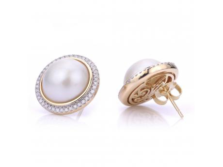 14K Yellow Gold Freshwater Pearl Earrings - 14KY 12-13MM MABE PEARL AND DIAMOND EARRINGS