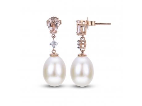 14K Rose Gold Freshwater Pearl Earrings - 14KR 8-8.5MM FWCP MORGANITE & DIAMOND EARRINGS