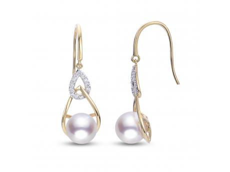 14K Yellow Gold Akoya Pearl Earrings - *Featured on the pages on INSTORE magazine*It is no surprise that our jewelers and their customers are loving this best selling design suite as it is made with such high quality components in a modern elegant design aesthetic. These wonderful dangle earrings feature two 8-8.5mm lusterous Japanese Akoya pearl set in 14k yellow gold and surrounded by shimmering diamonds.