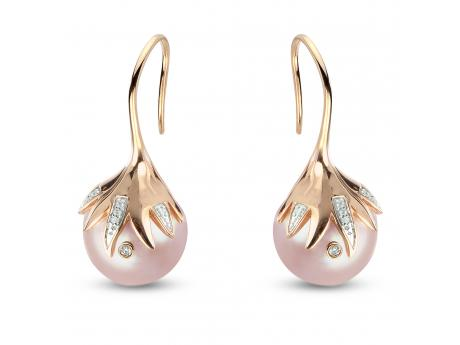 14K Rose Gold Freshwater Pearl Earrings - Windsor cultured pearl 14K Rose Gold EarringsIt is not often that a piece of jewelry takes our breath away but this brand new design from our Windsor collection has left us speechless! The way that the soft blush color of the 14K rose gold compliments the natural pink color of this large 13-14mm cultured pearl is truly a match made in heaven!SPECS: 12 diamonds for a total carat weight of .019  including one diamond actually drilled and bezel set into the surface of the cultured pearl, 13-14mm natural colored bead nucleated freshwater Windsor cultured pearl, solid 14K rose colored gold.