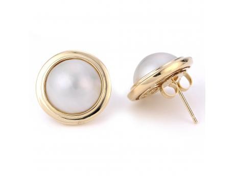 14K Yellow Gold Freshwater Pearl Earrings - ( 14KY 12-13MM MABE PEARL EARRINGS)