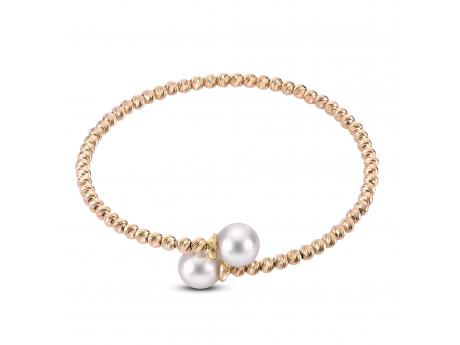 14K Yellow Gold Akoya Pearl Bracelet - 14K 8-8.5MM AKOYA & BRILLIANCE BEAD BANGLE
