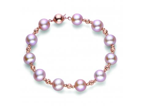"7.5"" 14KR NATURAL PINK ""AA"" FWCP BRILLIANCE BEAD BRACELET"