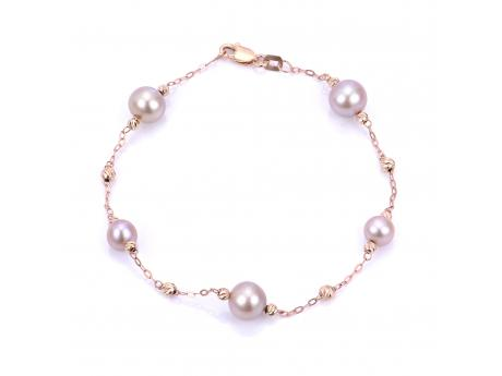 This 7.5 inch station bracelet features natural colored pink freshwater pearls as the perfect compliment to the 14k rose gold chain and signature diamond cut brilliance beads.