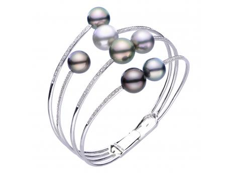 14K White Gold Tahitian Pearl Bracelet - Crafted in 14k white gold featuring 7 rare vibrant colored Tahitian cultured pearls and .25ct of diamonds this bracelet is an  absolute show stopper!