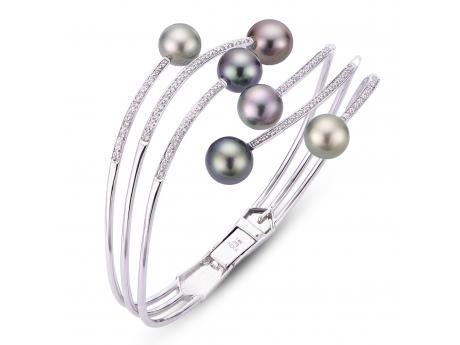 14K White Gold Tahitian Pearl Bracelet - 14KW MULTI COLOR TAHITIAN & DIAMOND WAVE BANGLE
