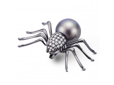 Imperial Gold Pin - 14KW 11-12MM TAHITIAN PEARL & DIAMOND SPIDER PIN IN BLACK RHODIUM