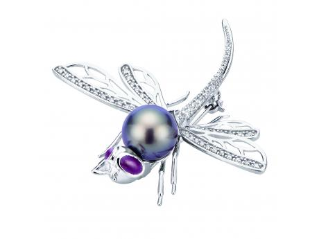 14K White Gold Tahitian Pearl Pin - 14KW 10-11MM TAHITIAN PEARL & RUBY DRAGONFLY PIN