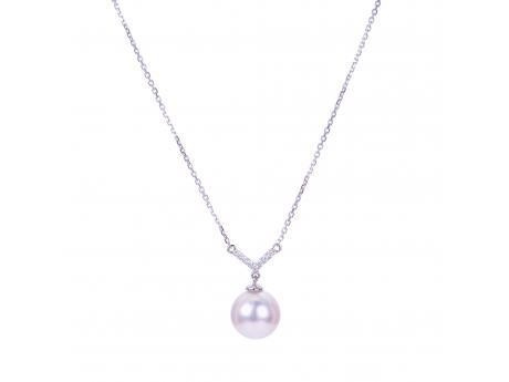 14K White Gold Akoya Pearl Necklace - 14KW 16-18