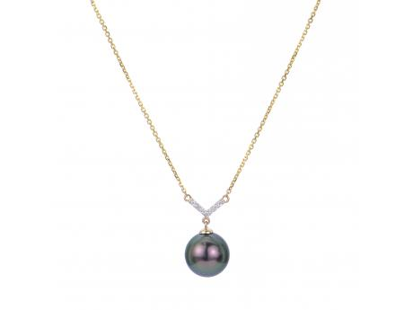 14K Yellow Gold Tahitian Pearl Necklace - 14KY 16-18