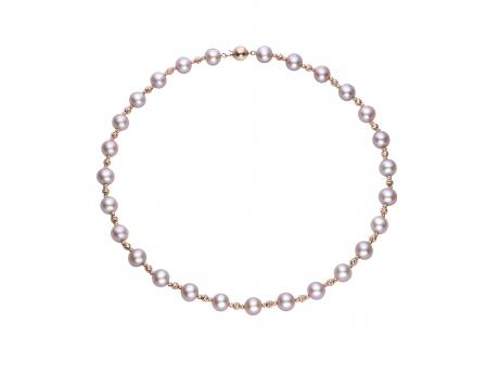 14K Rose Gold Freshwater Pearl Necklace - This necklace features natural color pink freshwater pearls in our highest quality accented by our signature 14k gold diamond cut brilliance beads. Total length 18 inches.