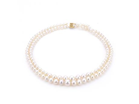 14K Yellow Gold Freshwater Pearl Necklace - 17-18