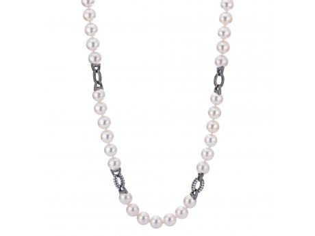 14K White Gold Akoya Pearl Necklace - 18