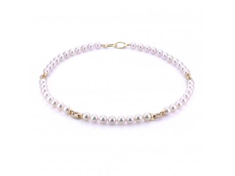 14K Yellow Gold Akoya Pearl Necklace - 18