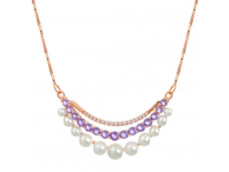 14K Yellow Gold Freshwater Pearl Necklace - A new era of cultured pearl jewelry has arrived, Introducing Privé by ImperialImperial's designers have been hard at work crafting cultured pearl jewelry the likes of which the world has never seen! This unique work of art features .48 ct of vibrant Amethyst, .069ct of shimmering diamonds and eleven 2-4.5mm freshwater seed cultured pearls set in 14K Rose gold… All of these incredible elements come together to form what we consider to be a masterpiece of modern jewelry design!
