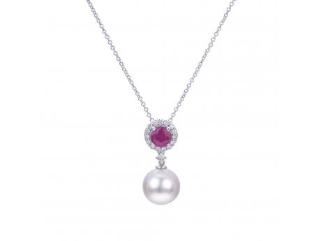 14K White Gold Akoya Pearl Pendant - Fit for a queen, this prestigious pendant features a 5x5mm .67ct ruby surrounded by a shimmering halo of 16 diamonds (.15ct) set in 14k white gold. One 9-9.5mm large lustrous Japanese Akoya pearl hangs just beneath the gemstone and diamond halo adding the perfect touch of classic elegance to this timeless design.