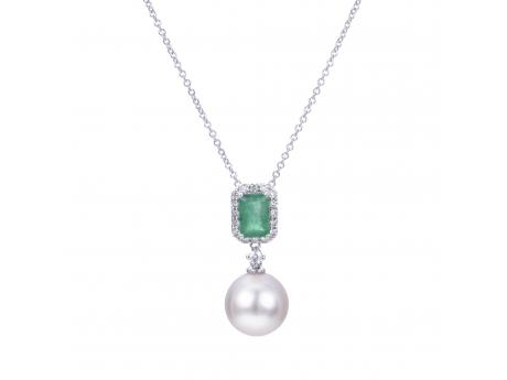 14K White Gold Akoya Pearl Pendant - The combination of emeralds and fine pearls is the pinnacle of prestige. This stunning pendant features one 6x4mm genuine emerald  with a total of .55 carat weight. Surrounding the emerald is a halo of 17 genuine  diamonds with a total carat weight of .16 and finally below the lush emerald and shimmering diamonds hangs a 9-9.5mm large Japanese Akoya pearl with vivid luster and exceptional surface quality. This pendant is set in 14k white gold and comes with 18 inch chain.