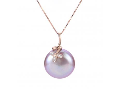 14K Rose Gold Freshwater Pearl Pendant by Imperial Pearls