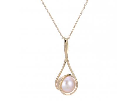 14K Yellow Gold Freshwater Pearl Pendant - From our