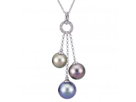 14K White Gold Tahitian Pearl Pendant by Imperial