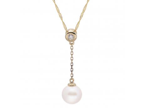 14K Yellow Gold Freshwater Pearl Pendant - 18