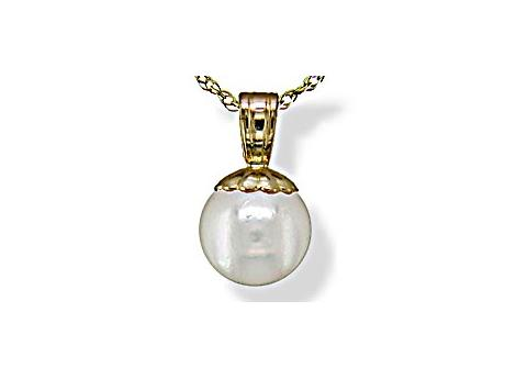 14K Yellow Gold Akoya Pearl Pendant - 14KY 5MM CP W/CAP ONLY