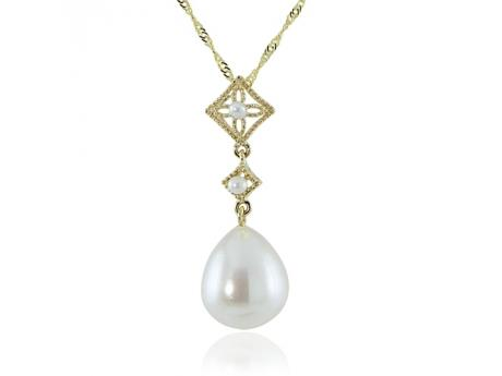 14K Yellow Gold Freshwater Pearl Pendant - Vintage795 By Imperial.This 18