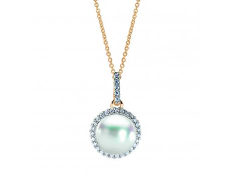 14K Yellow Gold Akoya Pearl Pendant - This classic 18