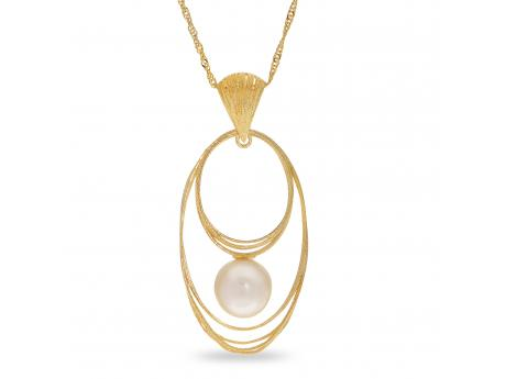 14K Yellow Gold Freshwater Pearl Pendant - Crafted in 14K yellow gold this  gorgeous pendant  features one AAA  quality 8-8.5mm freshwater cultured pearl. Silk by Imperial is a collaboration between Imperial cultured pearl and Italy's master gold smiths. After discovering a group of incredibly talented gold smiths from Italy's famous Arezzo region of Tuscany we immediately knew that a partnership was the next step. Our new Italian design partners have been hard at work designing these wearable works of art that we recently launched to our jewelers during IJO in Baltimore, and to our delight Silk has quickly become a new Imperial best seller!