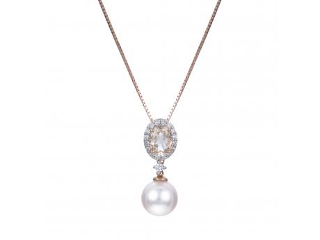 "*Featured on the pages on INSTORE magazine*From the moment that we paired the soft blush color of morganite with the rosé overtone of Japanese Akoya  pearls we knew that it was a match made in heaven. This precious pendant features a large 9-9.5mm Akoya pearl, a  6x4mm oval shaped morganite gemstone, and a halo of 17 diamonds set in 14k rose gold.Includes 18"" 14K rose gold chain"