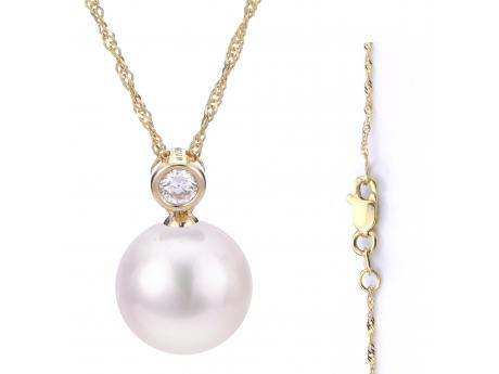 14K Yellow Gold Akoya Pearl Pendant by Imperial Pearls