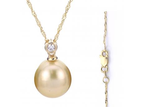 14K Yellow Gold Golden South Sea Pearl Pendant - 18