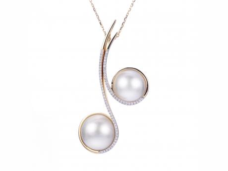 "(14KY 18+2"" 11-12 & 13-14MM MABE PEARL AND DIAMOND PENDANT)"