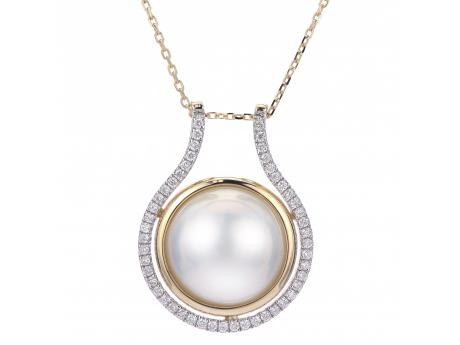 14K Yellow Gold Freshwater Pearl Pendant - 14KY 18+2