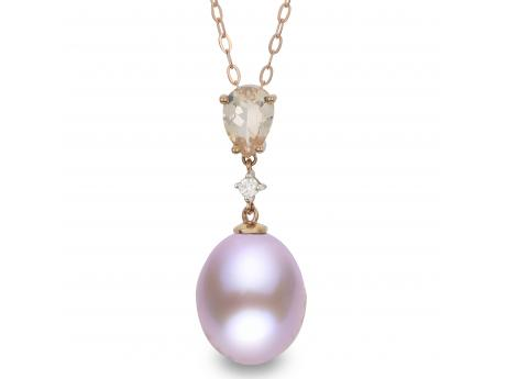 14K Rose Gold Freshwater Pearl Pendant - 18 inch 10-11mm latural color pink freshwater pearl pendant with diamond and morganite stones in 14k rose gold.