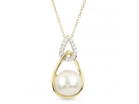 14K Yellow Gold Akoya Pearl Pendant - Featured on the pages on InStore magazine... It is no surprise that our customers are loving this best selling design suite as it is made with such high quality components in a modern, elegant design aesthetic. This pendant features a 9-9.5mm lusterous Japanese Akoya pearl set in 14K yellow gold and surrounded by shimmering diamonds. The chain is 18 inches with a 2 inch extender.